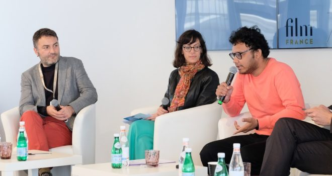 Official opening of call for entries on CNC pavilion - Cannes 2019 (from left to right : Shapath DAS (Arthouse FF), Anne TALLINEAU (Institut Français), Guillaume MAINGUET (Produire au Sud/F3C)