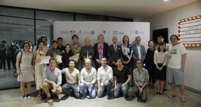 SEAFIC Sponsors and Partners (French Ministry, Alliance francaise, Goethe Institute, Japan Foundation Bangkok, White Light Post), Board Members, Moderator, Jury and Participants after the Awards Ceremony on November 5th, 2018 at Alliance francaise Bangkok.
