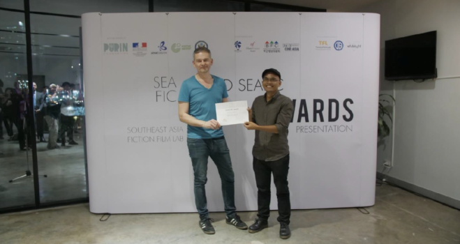 Co-producer Steve Arounsack was awarded the SEAFIC-TFL Award for Xaisongkham Induangchanthy's Laos/US project RAISING A BEAST