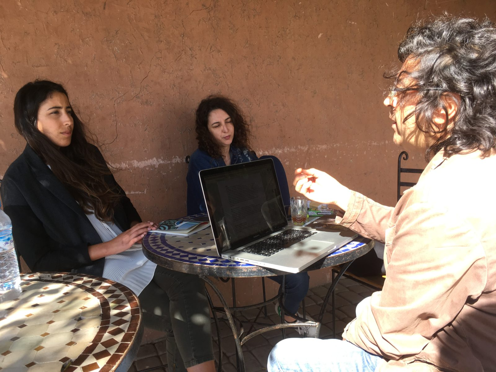 Sonia Terrab and Fatim Bencherki (MAROKKIAT) talking with Ali Assafi