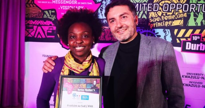 Produire au Sud DFM award to zimbabwean director Tapiwa Chipfupa and her project SUNFLOWERS IN THE DARK
