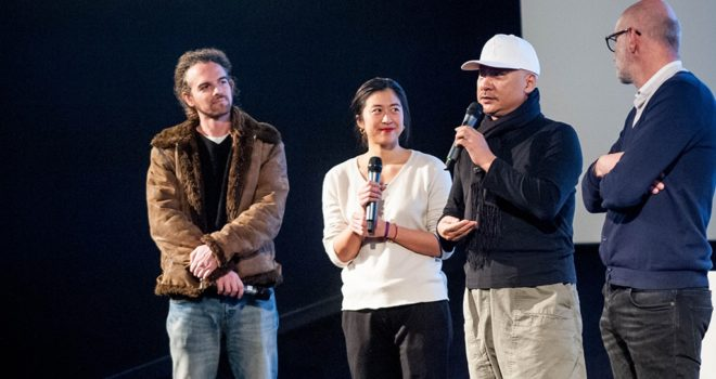 Aymeric PILARSKI, notre traductrice, WANG Quan'an et Jérôme Baron © JG Aubert