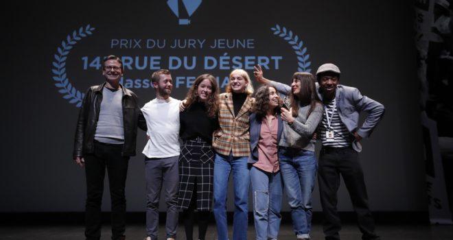 Pascale Ramonda, distributrice internationale du film 143 rue du désert, Prix du Jury Jeune 2019 avec Franck Rabu du Conseil d'Administration des 3 Continents et le jury jeune